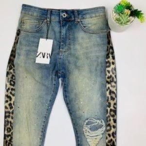 NWT Zara Hi-Rise Destroyed Skinny Ankle Jeans